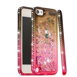 Diamond Frame Liquid Glitter Quicksand Sequins Phone Case for iPod Touch 7 (7th Generation, 2019) - Gray Pink