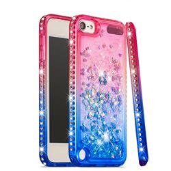 Diamond Frame Liquid Glitter Quicksand Sequins Phone Case for iPod Touch 7 (7th Generation, 2019) - Pink Blue