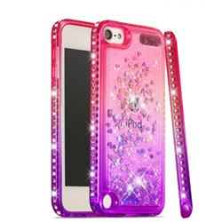 Diamond Frame Liquid Glitter Quicksand Sequins Phone Case for iPod Touch 7 (7th Generation, 2019) - Pink Purple