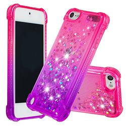 Rainbow Gradient Liquid Glitter Quicksand Sequins Phone Case for iPod Touch 7 (7th Generation, 2019) - Pink Purple