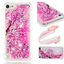 Pink Cherry Blossom Dynamic Liquid Glitter Sand Quicksand Star TPU Case for iPod Touch 7 (7th Generation, 2019)