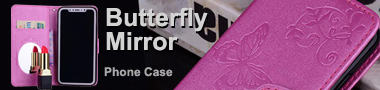 Wholesale Embossing Butterfly Morning Glory Mirror Leather Wallet Holster Cover