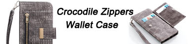 Wholesale Retro Crocodile Zippers Leather Wallet Case