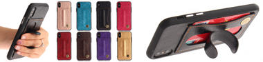 Wholesale Retro Leather Coated Back Cover with Hidden Kickstand and Card Slot
